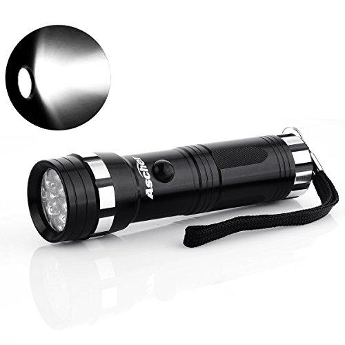 Ascher Superhelle LED Taschenlampe |14 LED | Energiesparend | Aluminiumgehäuse | Schwarz