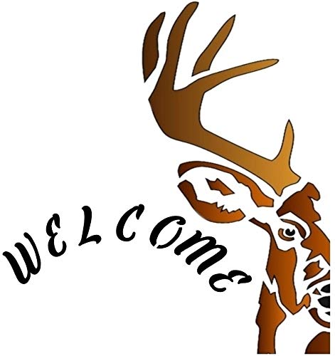 Deer Half Head Welcome Sign Stencil Mylar Signs Rustic Chic Stencils ()