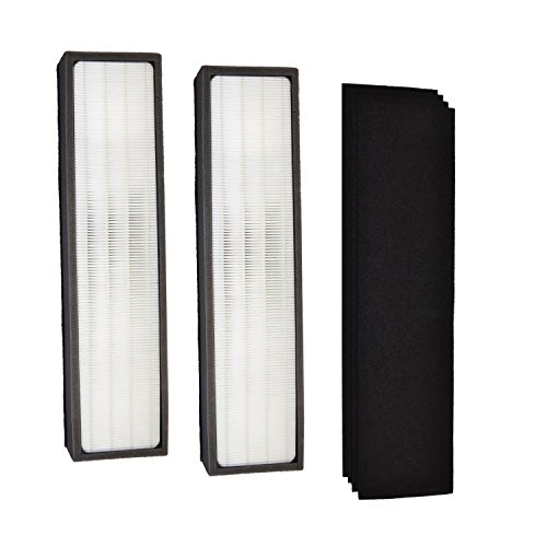 HQRP Kit: 2pcs Filter C & 4-pack Carbon Filters (Reserve) for GermGuardian AC5000E AC5250 AC5250PT AC5300B AC5350W AC5350B AP2800CA Air Purifiers, FLT5000 Replacement + HQRP Coaster