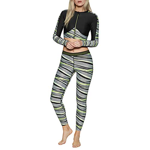 (Speedo Reflect Wave Allover Womens Leggings UK 12 Reg Black Zest)