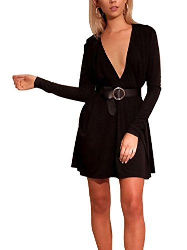 Manica Vestiti Vestiti Abbigliamento Blusa Libero Camicia Sciolto Colori Donna Elegante Ragazza Tempo V Corto Adelina Vestiti Kleid Lunga Nero Solidi Fashion Collo Mini 6YwnqxqHdZ