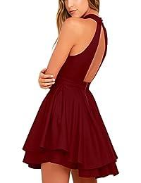 Women's Swing Dress Sleeveless Halter Neck A-line Pleated Cocktail Mini Dress