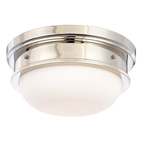 - Trumbull 2-Light Flush Mount - Polished Nickel Finish with Opal Matte Glass Shade