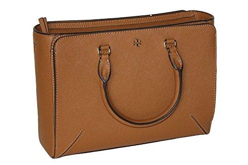 Tory Burch Women's Emerson Small Zip Tote Leather Shoulder Handbag 50707 (Tiger's (Tigers Eye Handbag)