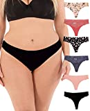 Thongs for Women Sexy Lace Back Floral Panties Invisible No-Show Seamless Underwear 6 Pack Small to Plus Size (XXX-Large, Pink Floral)