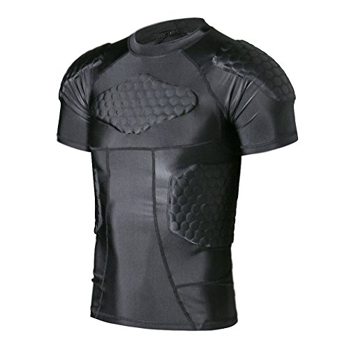 TUOY Padded Compression Shirt - Adult Sizes & 6 Pads Padded Protective Shirt for Football Paintball Baseball
