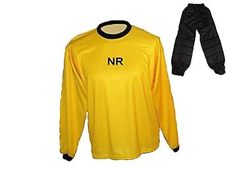 Torwart Trikot gepolstert Gelb Lange TW Hose mit Wunschname Nummer Kinder Größe 134