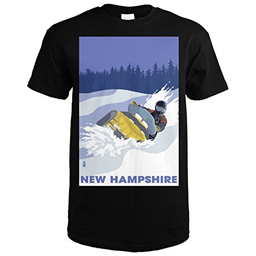 [New Hampshire - Snowmobile Scene (Black T-Shirt Large)] (New Snowmobile Sled)