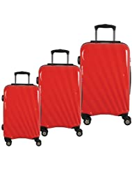 McBrine A747 3-Piece Hard Side 4-Wheeled Expandable Luggage Set - Red/Black_Red; Black Trim