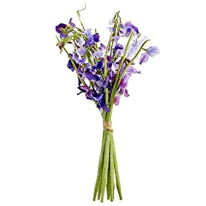 "Floral Home Violet Purple Artificial Sweet Pea Bundle - 17"" Tall 4"