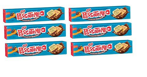 Passatempo Biscoito Recheado sabor Chocolate 130g - 6 Pack | Chocolate Filled Cookie 5.29oz - 6 Pack. (Brazilian Cookies)