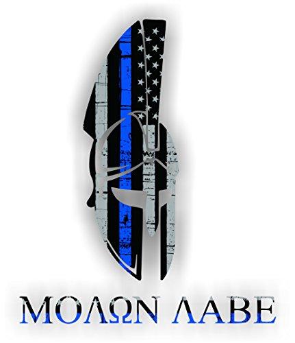 One (1) pc. - Thin Blue Line American Flag SPARTAN MOLON LABE - 4