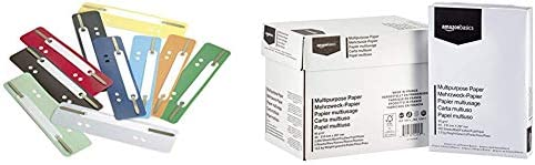 Durable 690100 Heftstreifen Flexi, 1 Packung à 250 Stück farbig sortiert & AmazonBasics Druckerpapier, DIN A4, 80 g/m², 5x500 Blatt, Weiß