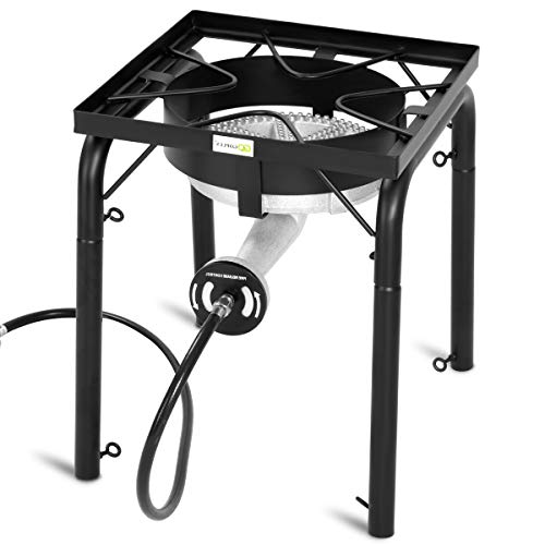GYMAX Outdoor Stove, Single Burner High Pressure Portable Gas Cooking Stove with Adjustable Regulator & Legs, Perfect for Camping Patio, 200,000-BTU