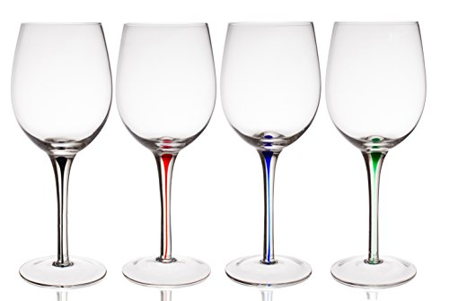 Trinkware Set of 4 Wine Glasses With Raindrop Stem in Red, Green, Blue And Black - Crystal Clear, 20oz, 9-inches Tall - Stem Colored Wine Glasses