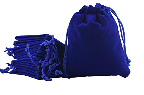 Sansam 20pcs Royal Blue Drawstrings Velvet Bags for Jewelry, Gift, Wedding Favors, Candy Bags, Party Favors, 5.2x7.2''