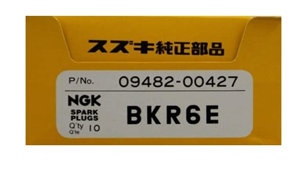 Suzuki fueraborda (09482 - 00427) NGK BKR6E caja de 10 Bujías de 4 tiempos (9,9, 15, 2004 - 2010) 25 V-Twin, 90, 115, 140, 100 a, 150, 175, 200 A, 200, 225, ...
