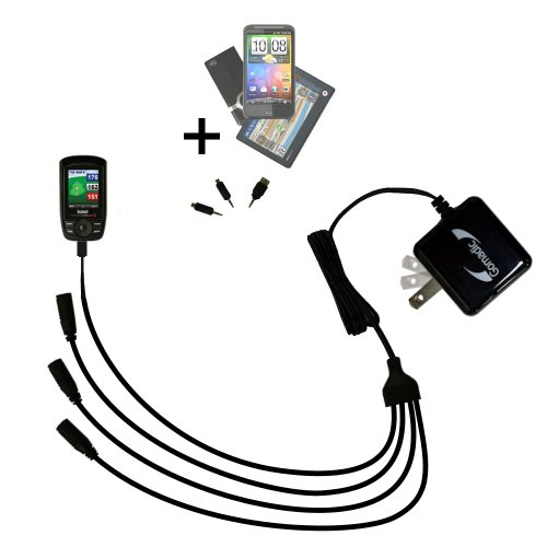Compact Tabletop Multi-port wall charger bundled with flip out prongs for the Bushnell Yardage Pro XGC XG - Clean design charges up to four devices at once and upgradeable using Gomadic TipExchange