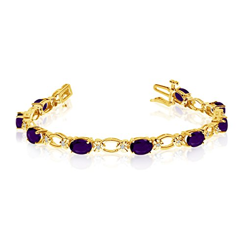 "4.08 Carat (ctw) 14k Yellow Gold Oval Amethyst and Diamond Open Link Tennis Bracelet - 7"" Length"