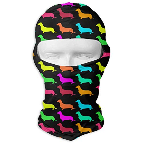 Leopoldson Colorful Dachshund Dog Breed Balaclava UV Protection Windproof Ski Face Masks for Cycling Outdoor Sports Full Face Mask Breathable -