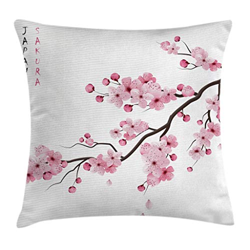 (Ambesonne Asian Throw Pillow Cushion Cover, Image of Japanese Cherry Branches with Blooming Flowers Spring Decorative Boho Art, Decorative Square Accent Pillow Case, 24 X 24 Inches, Pink White)