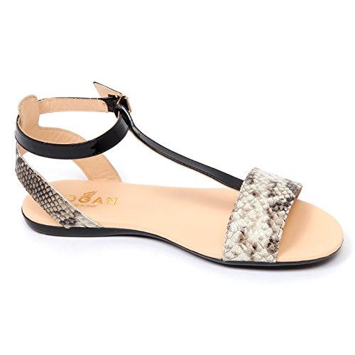 D0302 sandalo donna HOGAN VALENCIA scarpa effetto pitone nero/avorio shoe woman nero/avorio