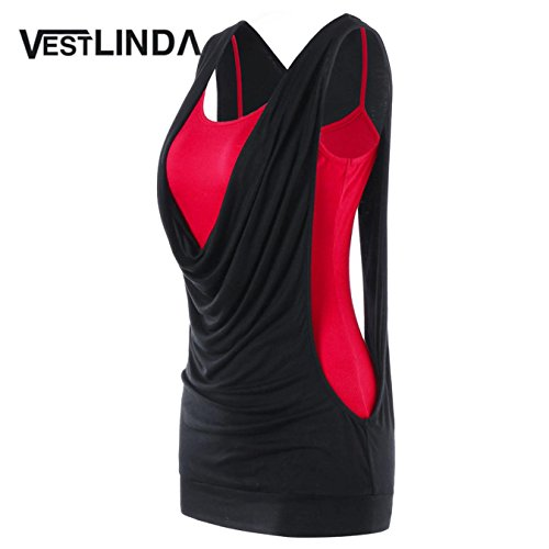 - Womens Summer Fashion Sexy Faux Twinset Panel Cut Out Sleeveless Tank Top Vest
