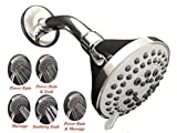Ascent Spa 5 Function High Pressure Shower Head Chrome Finish Wall Mounted Adjustable Swivel Easy Install