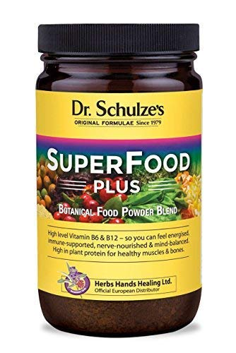 Dr. Schulze's Original Superfood Plus 400 Grams. Vegan, Green, Phytonutritional Smoothy Powder. High Level Vitamin B6 and B12 and Protein.