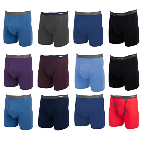 Fruit of the Loom (12 Pack Mens Underwear Cotton Boxer Briefs with Fly Soft Comfortable Tag Free Blue (Fruit Of The Loom Long Leg Boxer Briefs)