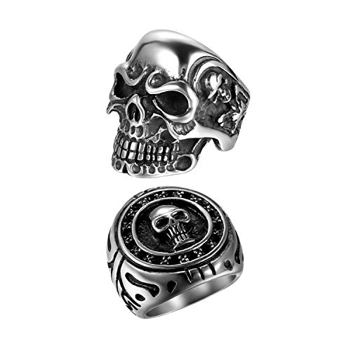 (2Pcs Bikers Stainless Steel Gothic Skulls Ring,Black Silver, Size 8)