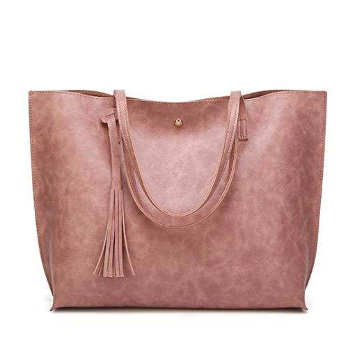 Moontang Pochette da donna casual con tracolla, in pelle nappa borsa a tracolla borsa a tracolla Tote crossbody bag (rosso) (Colore : Nero, Dimensione : -) Rosa