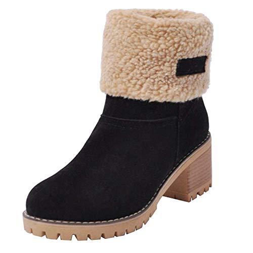 FIRENGOLI Womens Ladies Winter Shoes Flock Warm Boots Martin Snow Boots Short Bootie