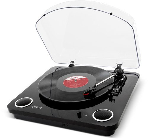 ION Audio Max LP | 3-Speed Belt Drive Turntable with Built-In Speakers & 1/8 Aux Input (Glossy Piano Black) - Optional Vinyl Cover