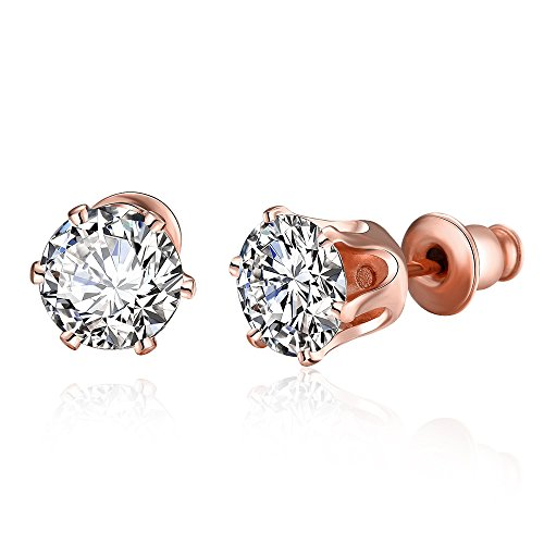 14k Rose Gold Post 6 Prong Round Cubic Zirconia CZ Stud Earrings For Girls Women (6 Prong Earrings)