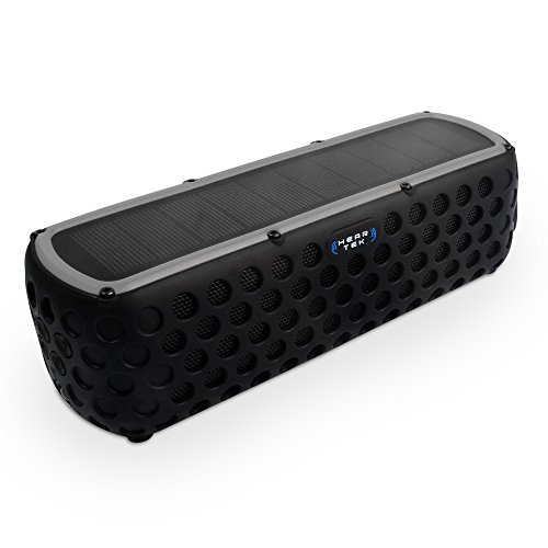 HearTek Solar Powered Bluetooth Speaker - Max 30 Hours of Power from 4 Hour USB Charge or Continuous in Sun - 2 x 5w 360 Stereo Big Bass Sound - Mic, Flashlight, Shockproof, Shower Proof, Outd
