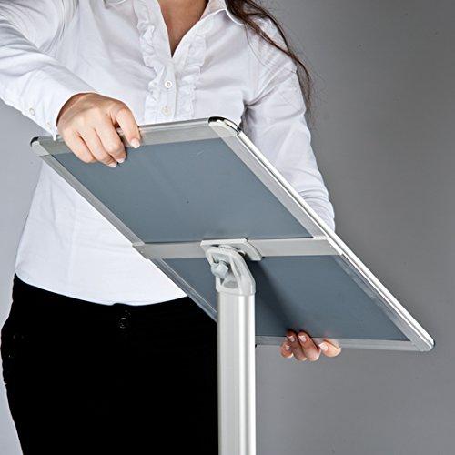 Info supporto formato DIN A4 classico Rondo Espositore per materiale in posizione verticale e orizzantale. colore argento Espositore da pavimento con design premium 1/m altezza totale