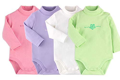 Infant Baby Boys Girls Long Sleeves Onesies Cotton Turtle-Neck Bodysuit Fall Winter Cloths Outfit (4-Pack, 12-18 Months)