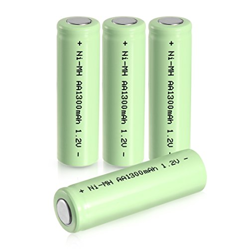 uxcell 4 Pcs 1.2V 1300mAh AA Ni-MH Battery Rechargeable Batteries Flat Top for Electric Tools Toys
