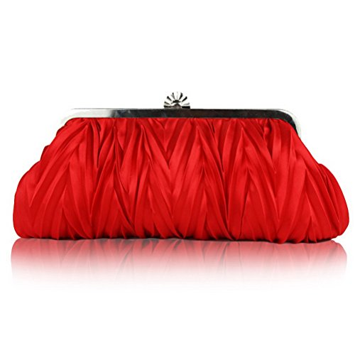 FASHIONROAD Fashion Road Womens Satin Pleated Evening Clutch Bags Purse Wedding Cocktail Party Handbags Red