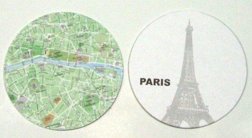 10 Piece Paris Map Coaster Set (Halloween Themed Town Names)