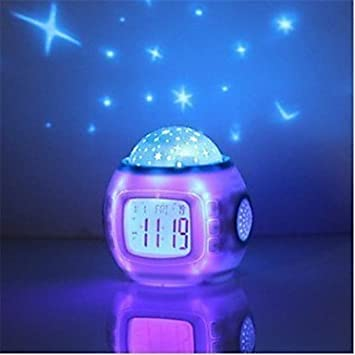qiuxi Creative childrens night light Music Starry Star Sky Digital Led Projection Projector Alarm Clock Calendar