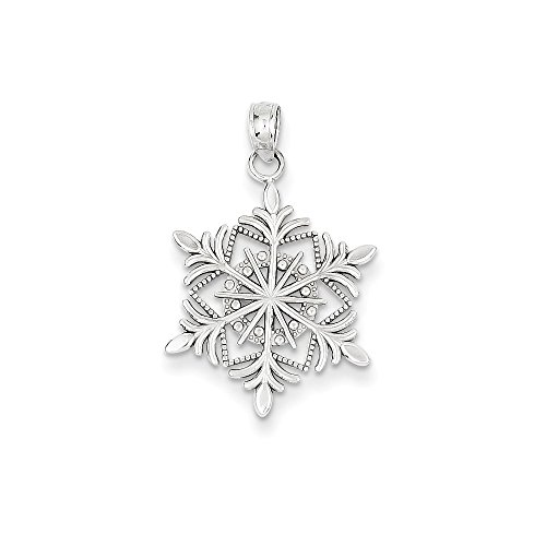 FB Jewels Solid 14K White Gold Snowflake Pendant