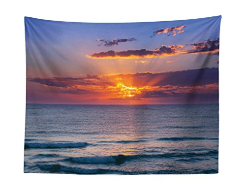 """Ocean Tapestry, Sunset Before Dusk at Cloudy Nature and Calm Sea with Small Waves Image, Fabric Wall Hanging Decor for Bedroom Living Room Dorm, 28"""" X 23"""", Orange Coral"""