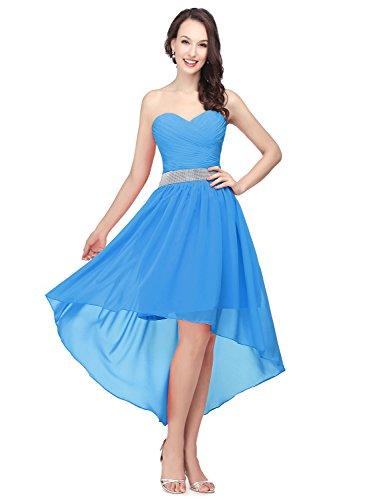 Abendkleid Asymmetrisch Cocktailkleid Clearbridal Abschlusskleider Damen CSD400 Bandeau Blau Ballkleid Chiffon XUqO1xp