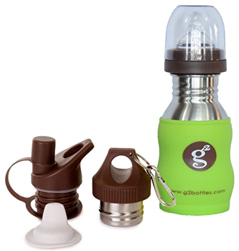 Goo-Goo Baby G2 Wave Stainless Steel Grow Bottle System in Green Apple, Green Apple, 0+ Years