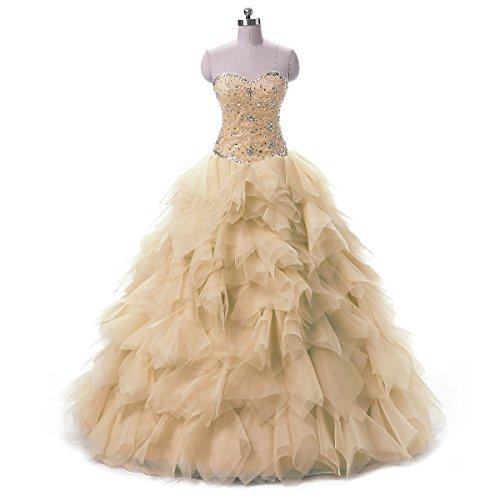 Rüschen Festkleider Lang strasssteine Damen Champagne LuckyShe Quinceanera Ballkleid Abendkleider kleid Prinzessin mit q8fnE5w
