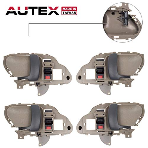 AUTEX 4pcs Beige Interior Door Handles Front Rear Left Right Compatible with Chevy Tahoe GMC Yukon 1995 1996 1997 1998 1999 2000 Chevrolet GMC Suburban C/K 1500 2500 3500 Pickup Truck 77570 77571