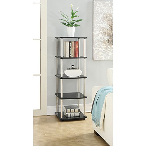 Office Storage/ Book Shelf, Convenience Concepts Designs Go Black Wood and Metal 5-tier Media Tower - Assembly Required 70323. 17.75'' x 15.75'' x 49.87''