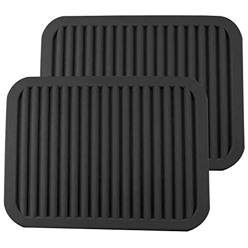 Silicone Trivets - Multi-purpose Silicone Pot Holders, Spoon Rest and Kitchen Table Mat - Insulated, Flexible, Durable, Non Slip Hot Pads and Coasters (2 Set) Black ()
